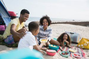 Family picnicking on beach