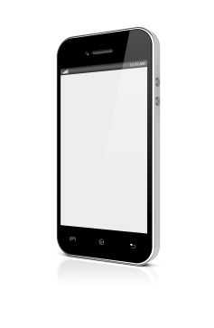Mobile smartphone with blank screen. 3d image