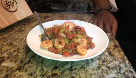 Shrimp Creole on A Bed of Rice Cauliflower