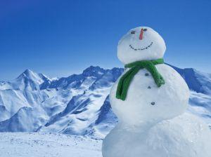 Smiling Snowman in Mountains near Ischgl, Austria