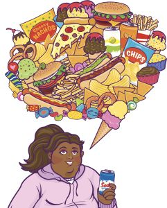 Black Cartoon Woman Thnking Of Food